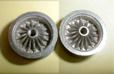 Dynamic Turbine Sport Polished Wheels 1 Pair 5:40 Thread 1/24 Slot Car NOS