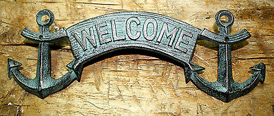 Plaque Home Decor (Cast Iron ANCHOR WELCOME Plaque Sign Nautical Wall Pool Home Decor BOAT HOUSE  )