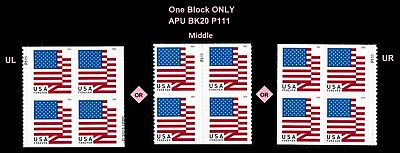 US Flag forever plate block P111 APU (from booklet 20) MNH 2018