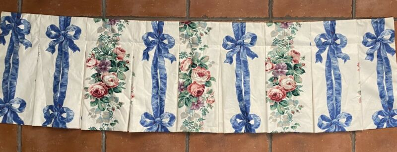 VINTAGE POLISHED COTTON CHINTZ FLORAL Blue Ribbon Pink Roses VALANCE 60 X 17