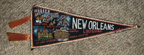 VINTAGE NEW ORLEANS, LOUISIANA ORNATE  FABRIC FLAG BANNER, PENNANT