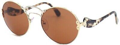 Prada Damen Sonnenbrille PR55T ZVN-6N0 57mm rund gold Vollrand Etui 44 (Prada Pr 55t)
