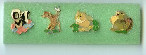 1987 Disney Bambi Flower Skunk Owl Thumper Bunny Pin Set & Case