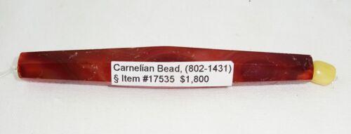 10C Cambodian S.E. Asian Khmer Excavated Carnelian Tubular Bead (Mil) #17535