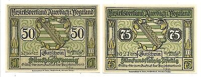 GERMANY NOTEGELD NOTES - TWO  AUERBACH 50 & 75 PENNING  NOTGELD NOTES(NN -21)