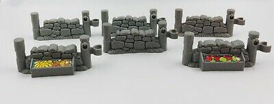 Fisher Price Little People Gray Stone Fence Wall Pieces Farm Castle Nativity
