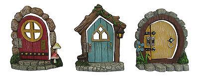 Ganz Hinged Miniature Fairy Garden Doors Mini Swinging Outdoor Polystone New