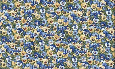 Fat Quarter blau Stiefmütterchen Blumen Sommer Garten Baumwolle Quilt Stoff ()