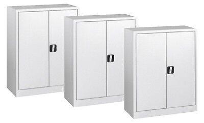 3 x Büroschrank, Flügeltürschrank, Halbhoher Schrank, 1000x800x380mm, RAL 7035