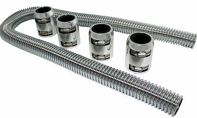 "48"" Chrome Stainless Flexible Radiator Hose Kit W/ Polished Aluminum End Caps"