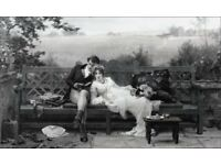 Original Antique Edwardian 1915 Picture ~ Framed Sepia Print 'The Honeymoon' by Marcus Stone R.A.