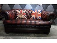 Stunning Chesterfield Pendragon Large 2 Seater Button Base Sofa Oxblood Red Leather UK Delivery