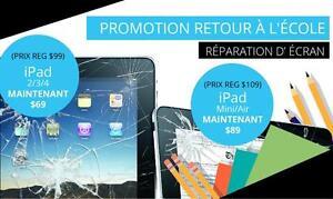 Terrebonne: 2287 Chemin Gascon: Réparation de vitre - iPad 2 / 3 / 4 / - iPad Mini 1 2 3 et  iPad Air 1/2