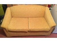 Sofa Bed (High Quality Yellow, Gold Fabric Couch with Pull Out Bed & Mattress)