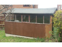 LARGE GARDEN SHED - CEDARWOOD - 8ft x 14 - plus workbench. Dismantle and collect.FREEBIE