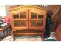 large pine top cabinet
