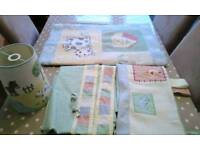Nursery set rug, curtains and lampshade in farm pattern
