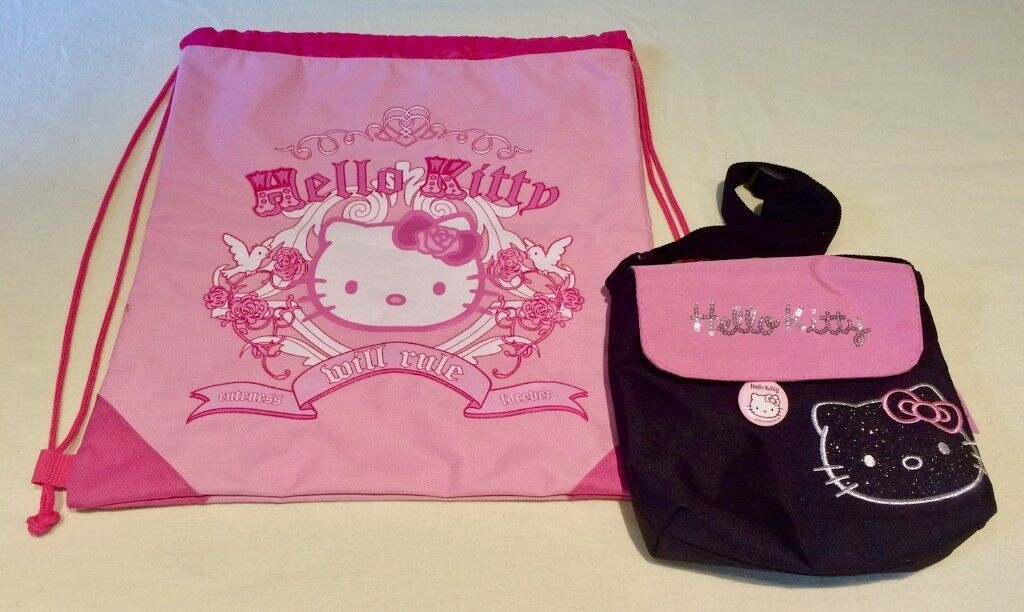 5aefc7620 BAGS BY 'HELLO KITTY' - drawstring bag + handbag with badge + lightweight +  'Hello Kitty' branded