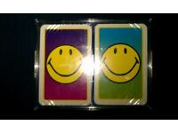 2 Packs Of 'Smiley' Picture Playing Cards in Plastic Case (Unopened, 1998)