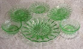 Green 'Depression Glass' Plates & Bowls
