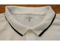 Mens White C&A Polo Shirt with Blue and Grey Trim (XXL only)