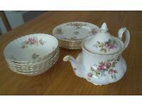 Royal Albert 'Moss Rose' dishes, plates & teapot.