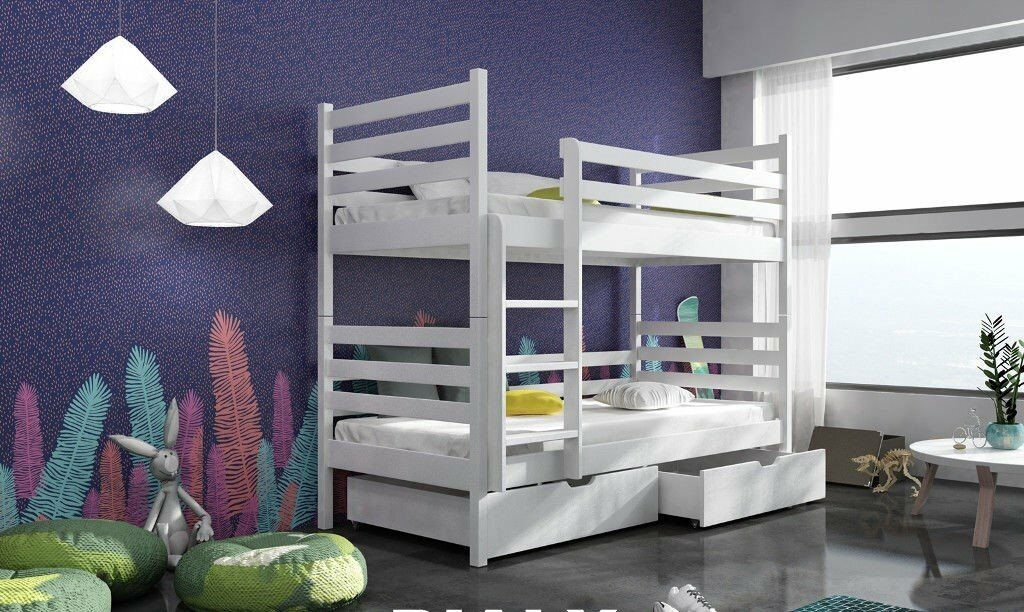 Lilly White Pine Wood Shorty Bunk Bed Mattresses Storage Drawers