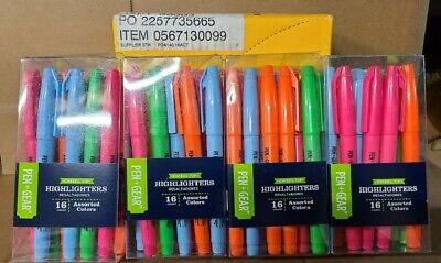 Lot Of 64 Pen Gear Highlighter Pens Chisel Tip Assorted Colors Smear Marker