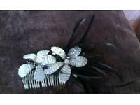 Wedding/occasion hair comb in black and crystal