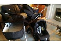 Gorgeous Mammas & Pappas 3 in 1 MPX Travel System Pram , Pushchair, Car Seat + Acces.