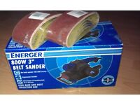 belt sander 800w comes in box with extra sanding belts can deliver