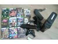 X box 360 complete console with 10 games and xbox knicect