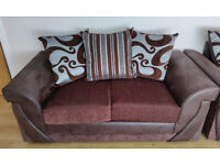 LUXURY 2 Seater Crushed Velvet Fabric Brown Sofa Settee with Cushions