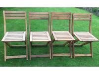 4 wooden foldable garden chairs in great condition
