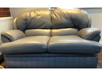 Grey leather sofa set 3 seater, 2 seater & chair with feet rest