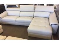BRAND NEW FABB GREY SOFT LEATHER L-SHAPED SOFA