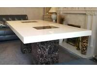 Italian marble cream and brown dining table with 8 wood chairs