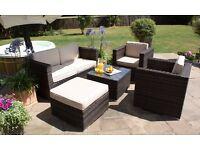 5 Piece 2 Seat Sofa Brown Rattan Garden Set
