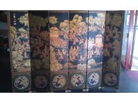 Six Panel Lacquered Chinese Screen