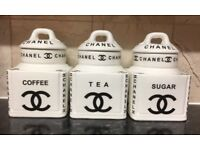 CHANEL COFFEE SUGAR TEA JARS £35 O N O ONLY 2 SETS LEFT LOOK AT OTHER ADDS