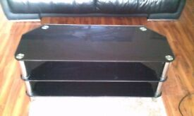 Good Condition Black Gloss Glass TV Stand Cabinet up to 65Inch tv 114Cm 45inch, delivery available