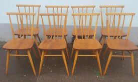 Set of Eight 1960s Ercol 391 Stick Back Dining Chairs. Vintage/Retro/Mid Century