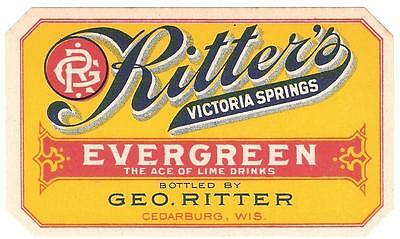 Evergreen Soda Label Ritter's Victoria Springs Geo. Ritter Cedarburg, Wisconsin
