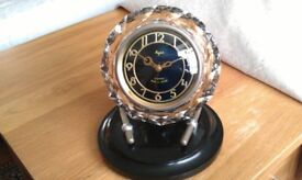 Collectible/Antique/Art deco, beautiful crystal russian clock, made in USSR, C.1955, U.S.S.R