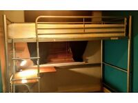 High sleeper cabin single bed / loft bed with desk and shelf / children or teenager