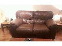 Chocolate Brown Genuine Soft Leather 2 Seater Sofa