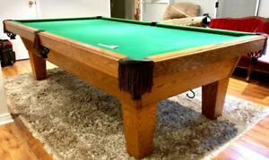 9' OLHAUSEN AUGUSTA SLATE POOL TABLE INSTALLED WITH ACCESSORIES