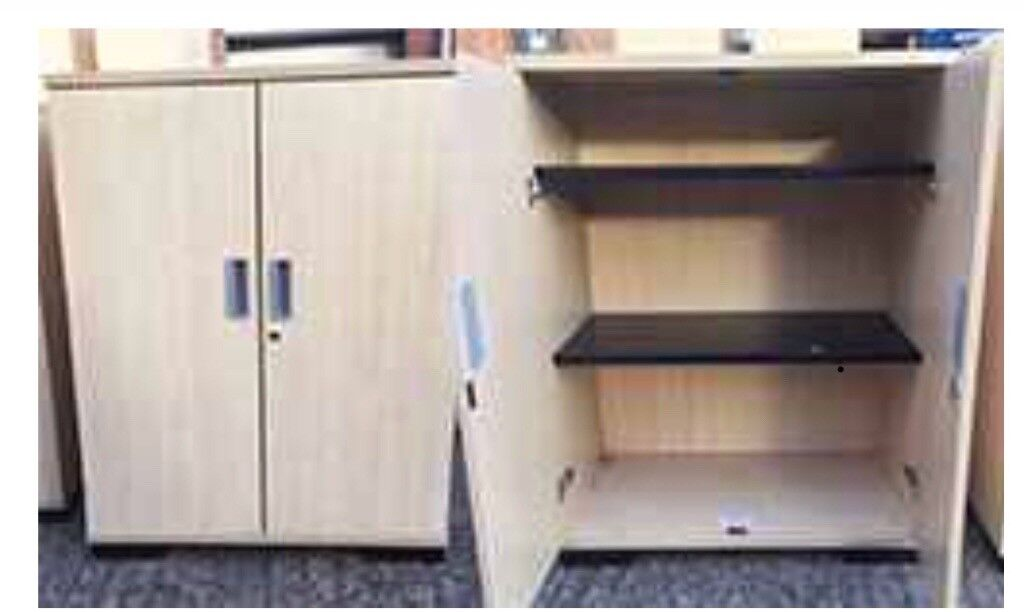 Maple Office Cupboards 82w 50d 106h Cm Ideal Two Doors Shelves