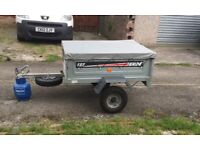 Erde 122 trailer with spear wheel and flat cover good condition