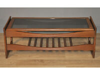 Attractive Vintage Retro Teak Coffee Occasional Table With Glass Top